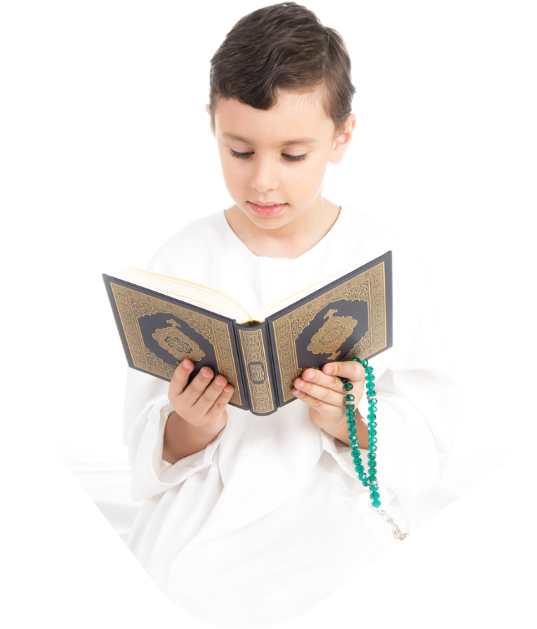 child reading quran with teacher